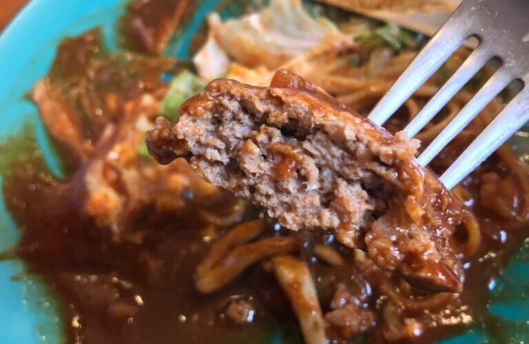 豚ヒレ肉のタルタルソース焼きとハンバーグのデミグラスソース_ハンバーグ